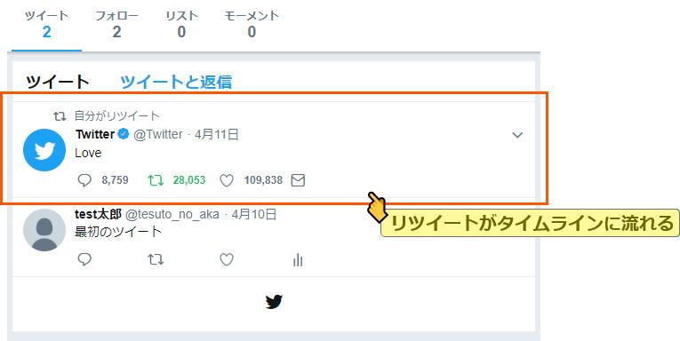 リツイートしたツイートがタイムラインに表示される